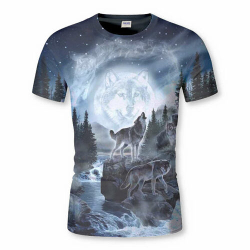 wolf pack t-shirt showing two wolves, one holing close to a forest and a lake