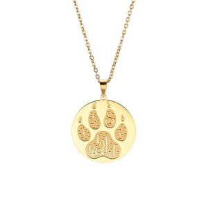 Wolf Paw Necklace gold platted showing a wolf paw with claws