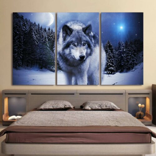 painting wolf walking in snow in a dark forest