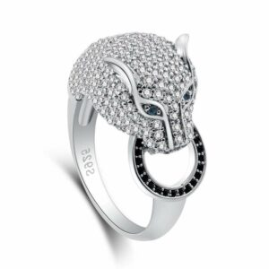 Wolf ring alpha woman steel and stones (diamonds)