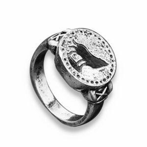 Wolf ring dark wolf with vintage style