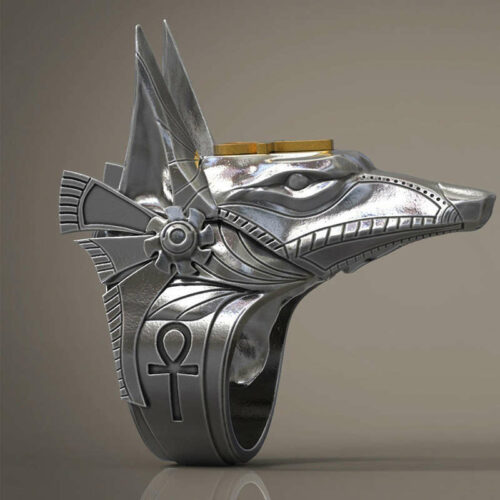 wolf ring egyption god made of steel