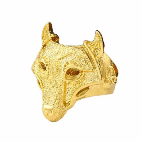wolf ring golden fenrir