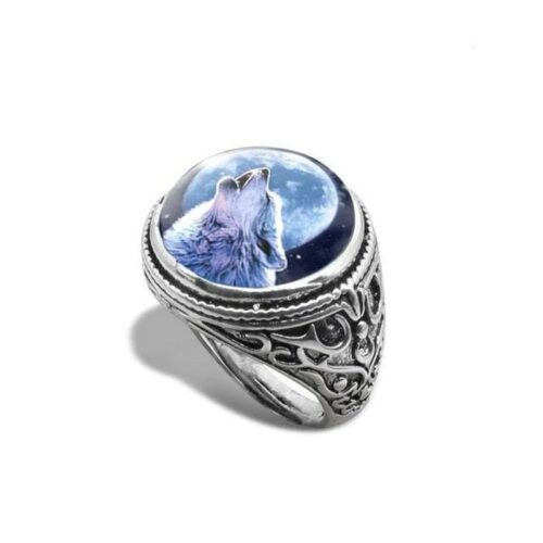 wolf ring howl in blue signet