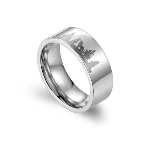 wolf ring howling at the moon steel