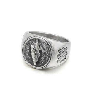 Wolf ring lone wolf signet
