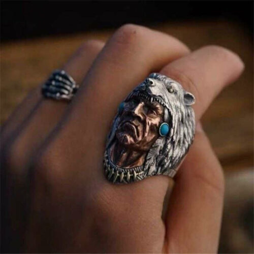 Wolf Ring Native American Wolf Headdress silver and turquoise