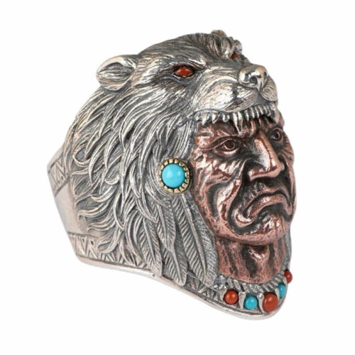 Wolf Ring Native American Wolf Headdress made of silver and turquoise