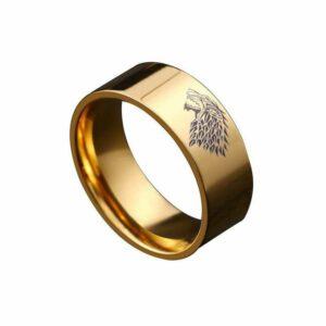 Wolf Ring Stark Direwolf Gold Ring