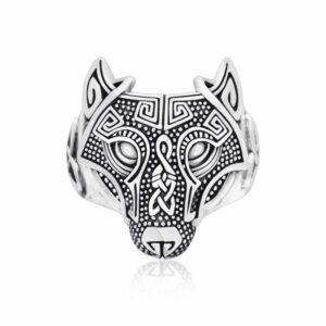 wolf ring viking wolf head