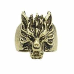 wolf ring vintage bronze head
