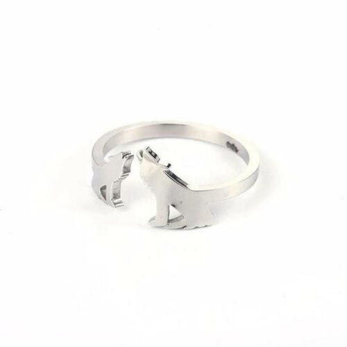 wolf ring wedding or engagement made of silver