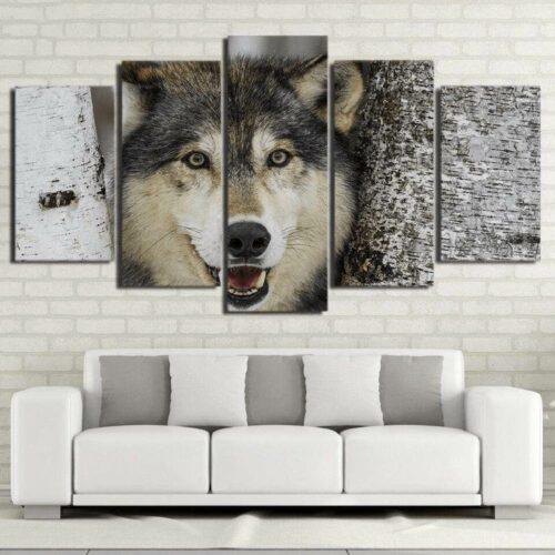 Painting Wolf Head Grey Wolf Head