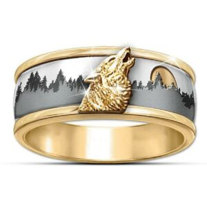 Gold Plated Wolf Head Ring (Steel)