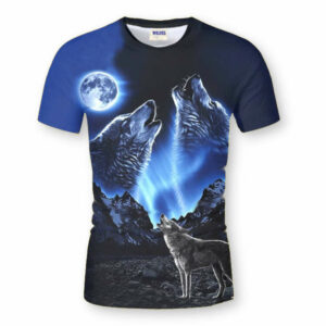 Wolf t-shirt with two wolves howling at the moon in a dark blue night