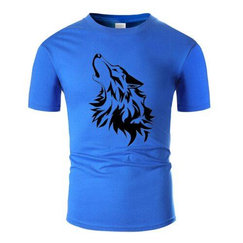 Wolf tshirt howling wolf black and dark blue