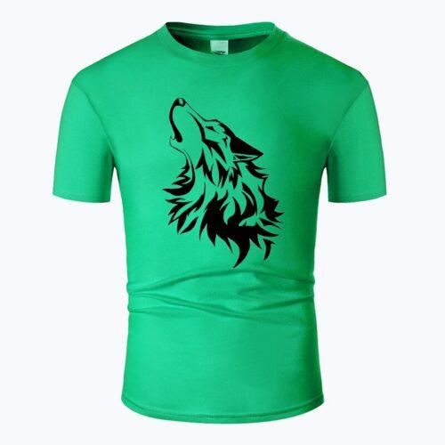 Wolf tshirt howling wolf black and dark green
