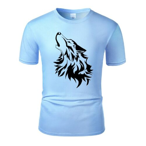 Wolf tshirt howling wolf black and light blue