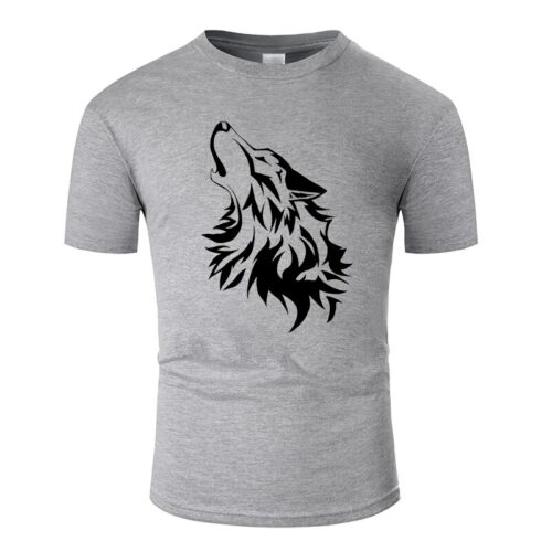 Wolf tshirt howling wolf black and dark gray