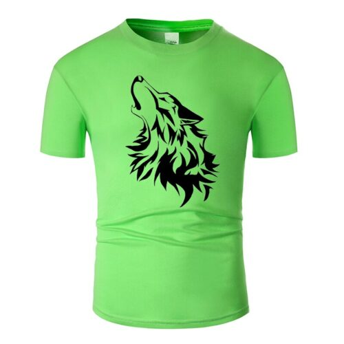 Wolf tshirt howling wolf black and light green
