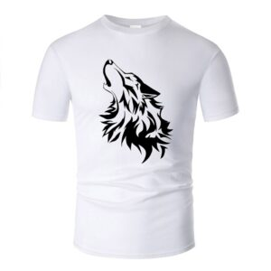 Wolf tshirt howling wolf black and white