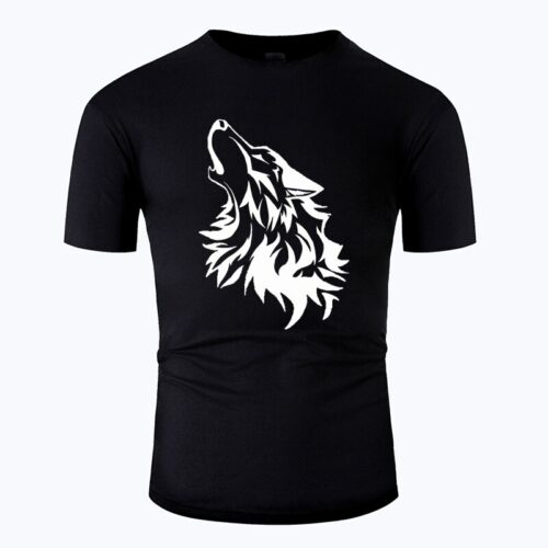 Wolf tshirt howling wolf white and black