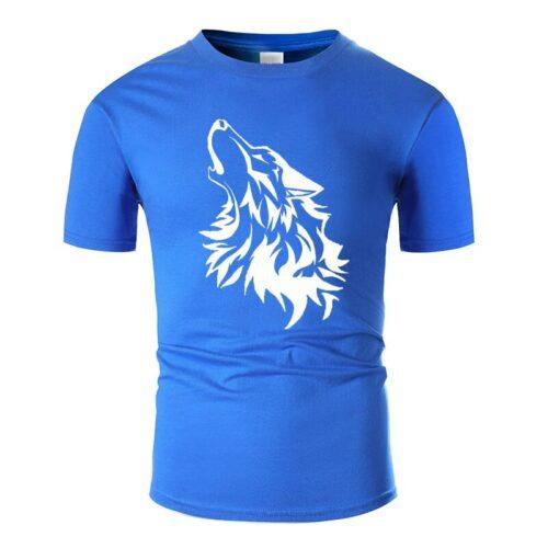 Wolf tshirt howling wolf white and dark blue