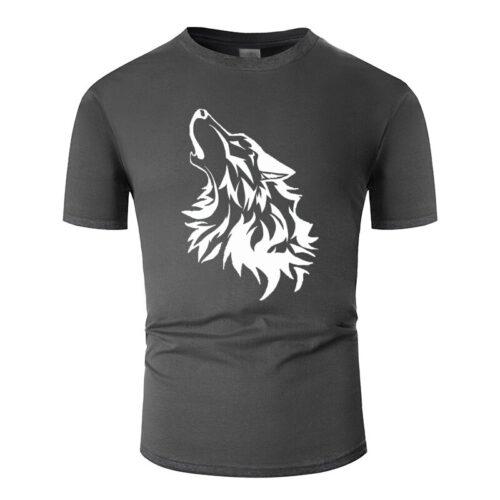 Wolf tshirt howling wolf white and dark gray