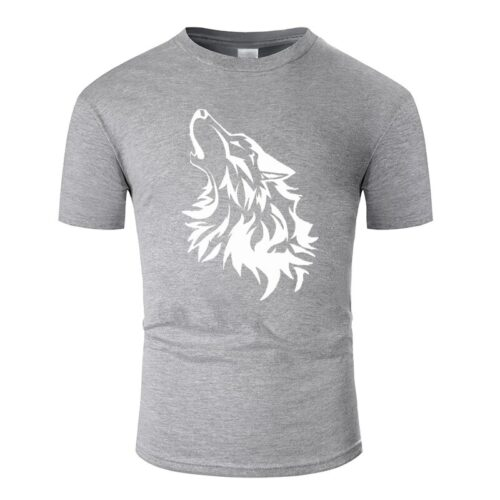 Wolf tshirt howling wolf white and light gray