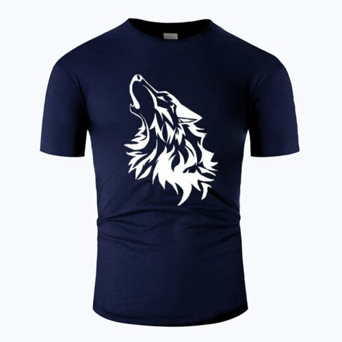 Wolf tshirt howling wolf white and navy