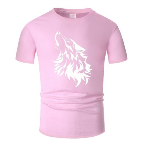 Wolf tshirt howling wolf white and pink
