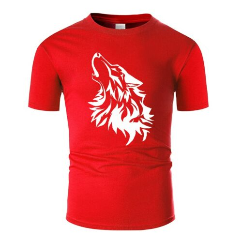 Wolf tshirt howling wolf white and red
