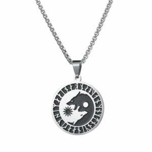 yin yang wolf sun moon necklace